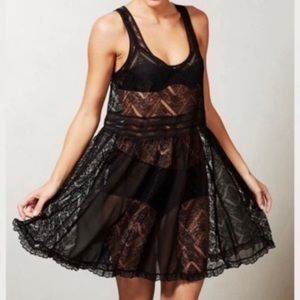 Anthropologie E by Eloise Black Lace Dress Unlined Overlay Slip XS